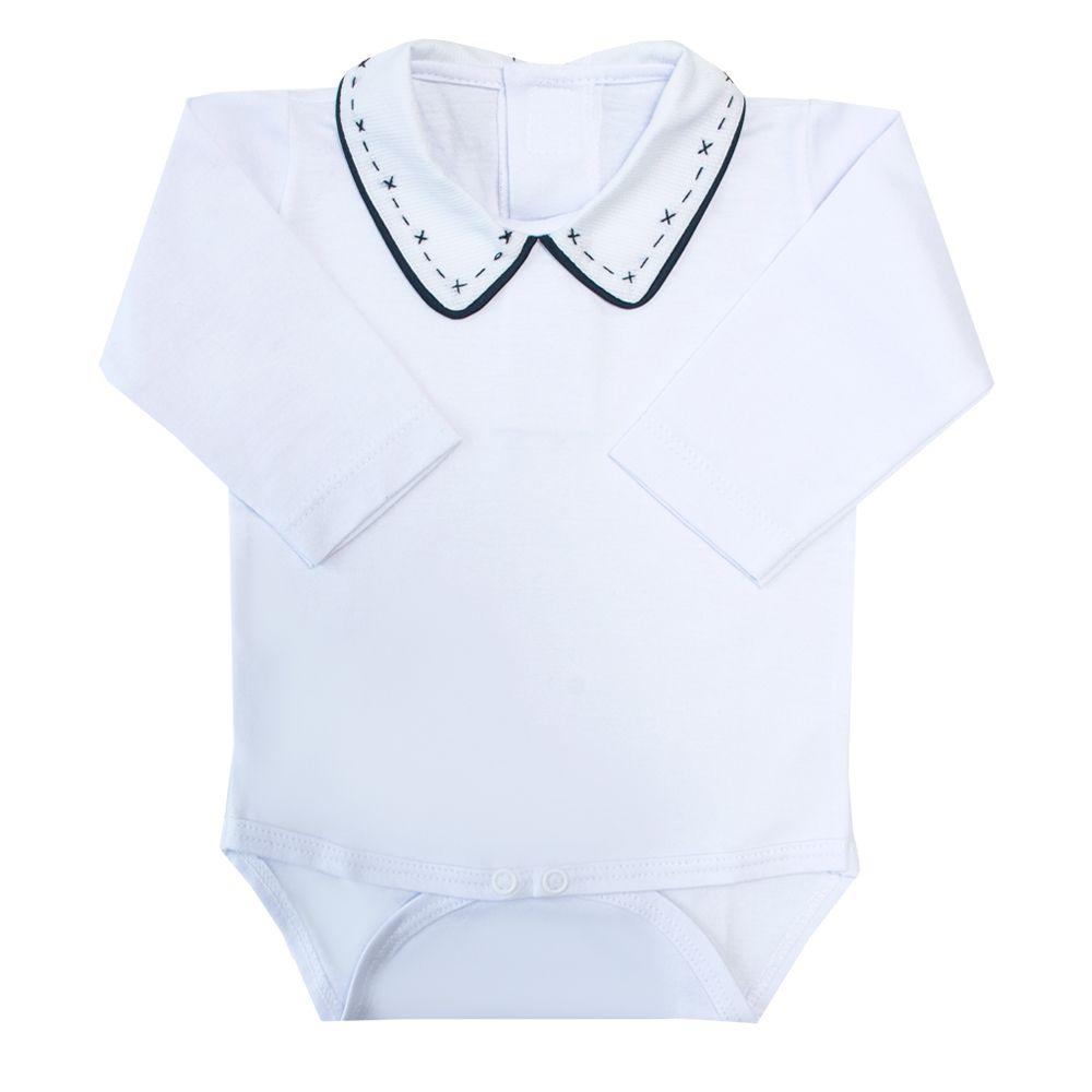 Body bebê com vivo, tracinho e x - Branco e azul marinho