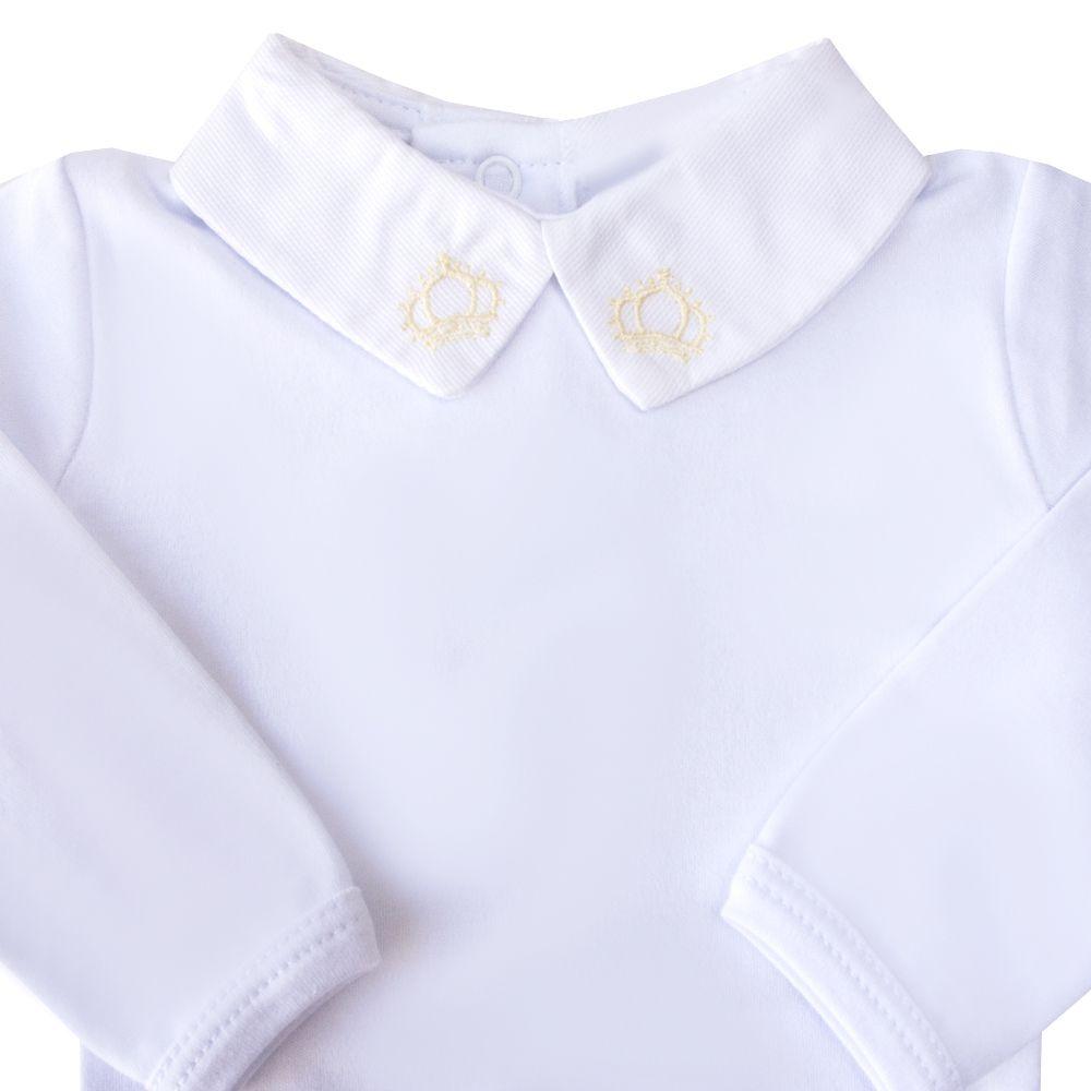 Body bebê coroa - Branco e amarelo