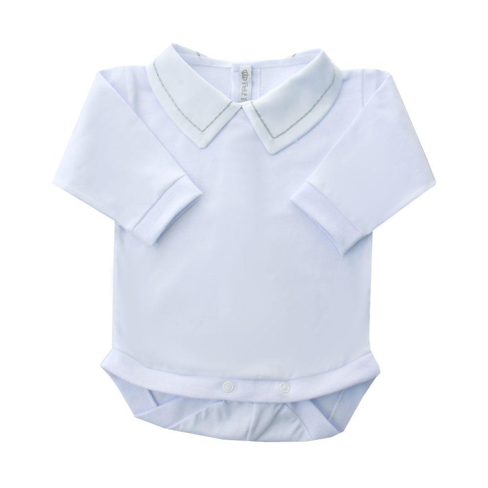 Body bebê corrente - Branco e cinza