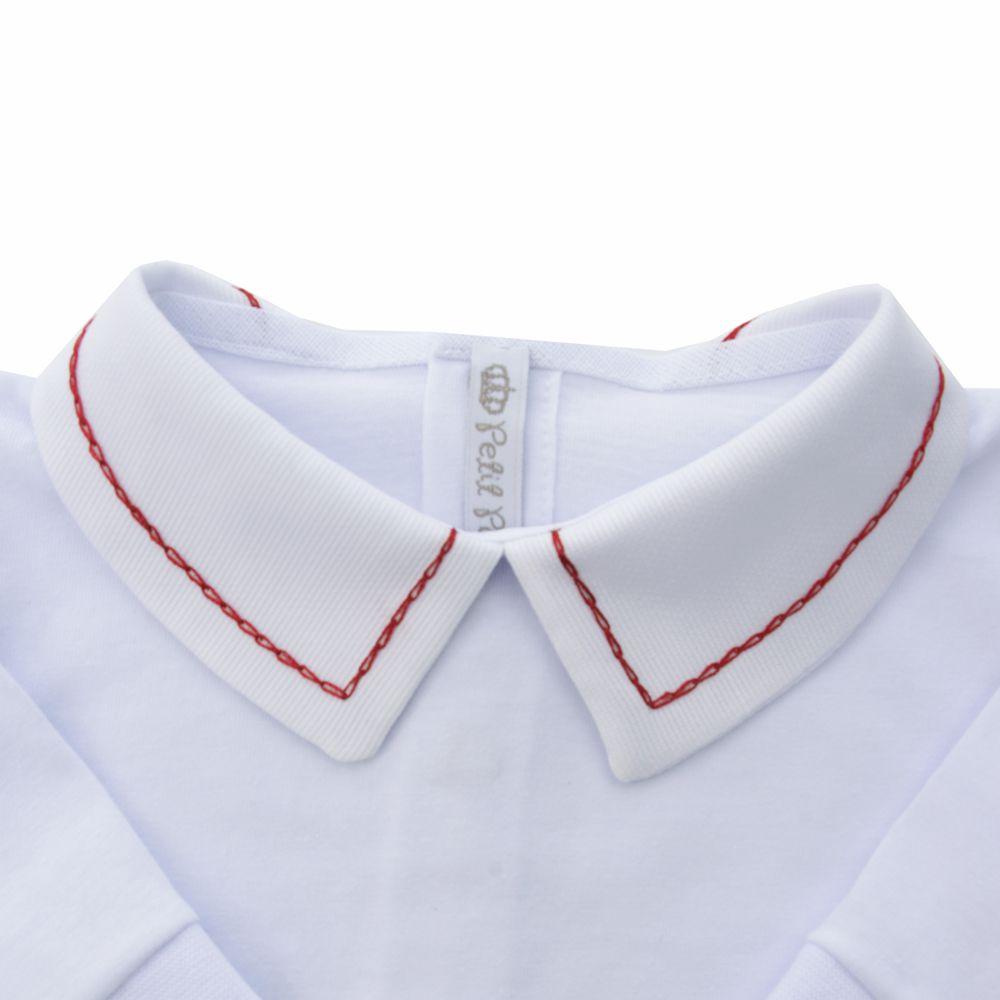 Body bebê corrente - Branco e vermelho