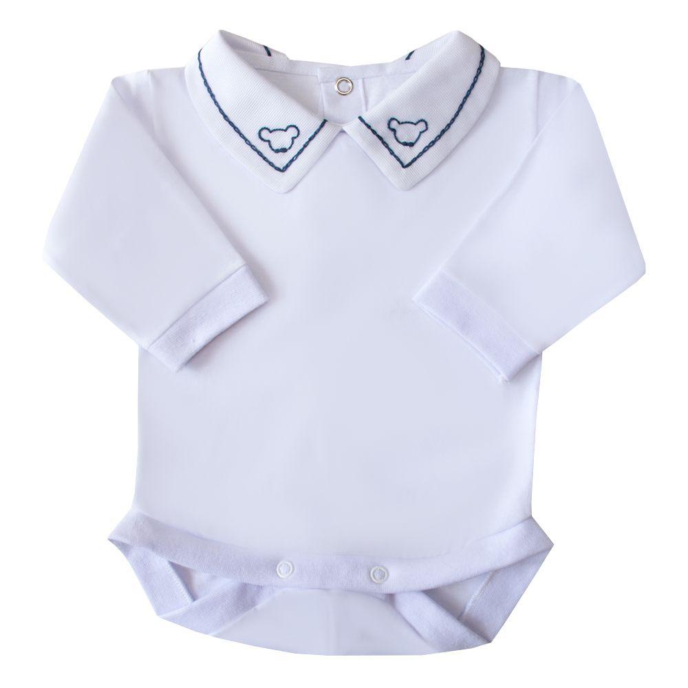 Body bebê corrente e ursinho - Branco e azul marinho