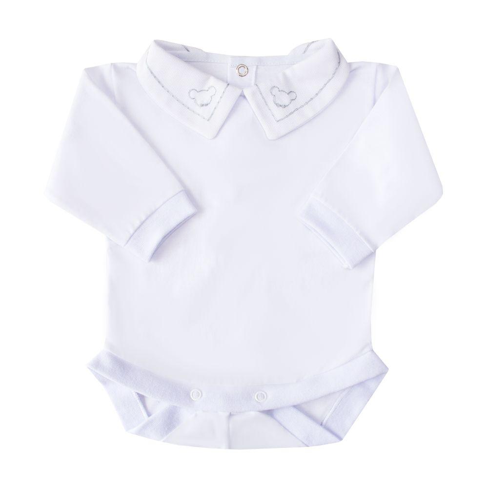 Body bebê corrente e ursinho - Branco e cinza