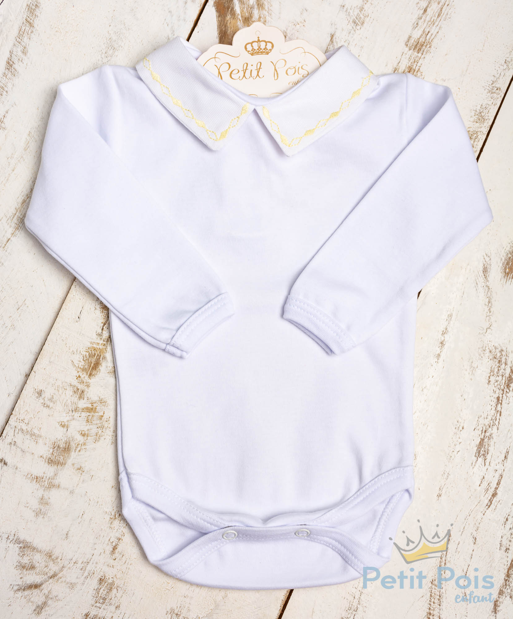 Body bebê corrente losango - Branco e amarelo