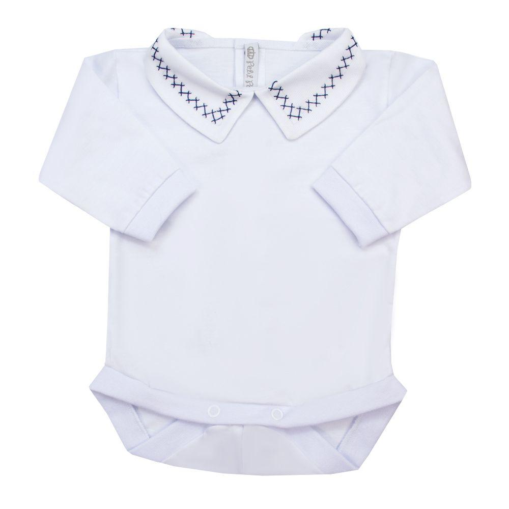 Body bebê corrente x - Branco e azul marinho
