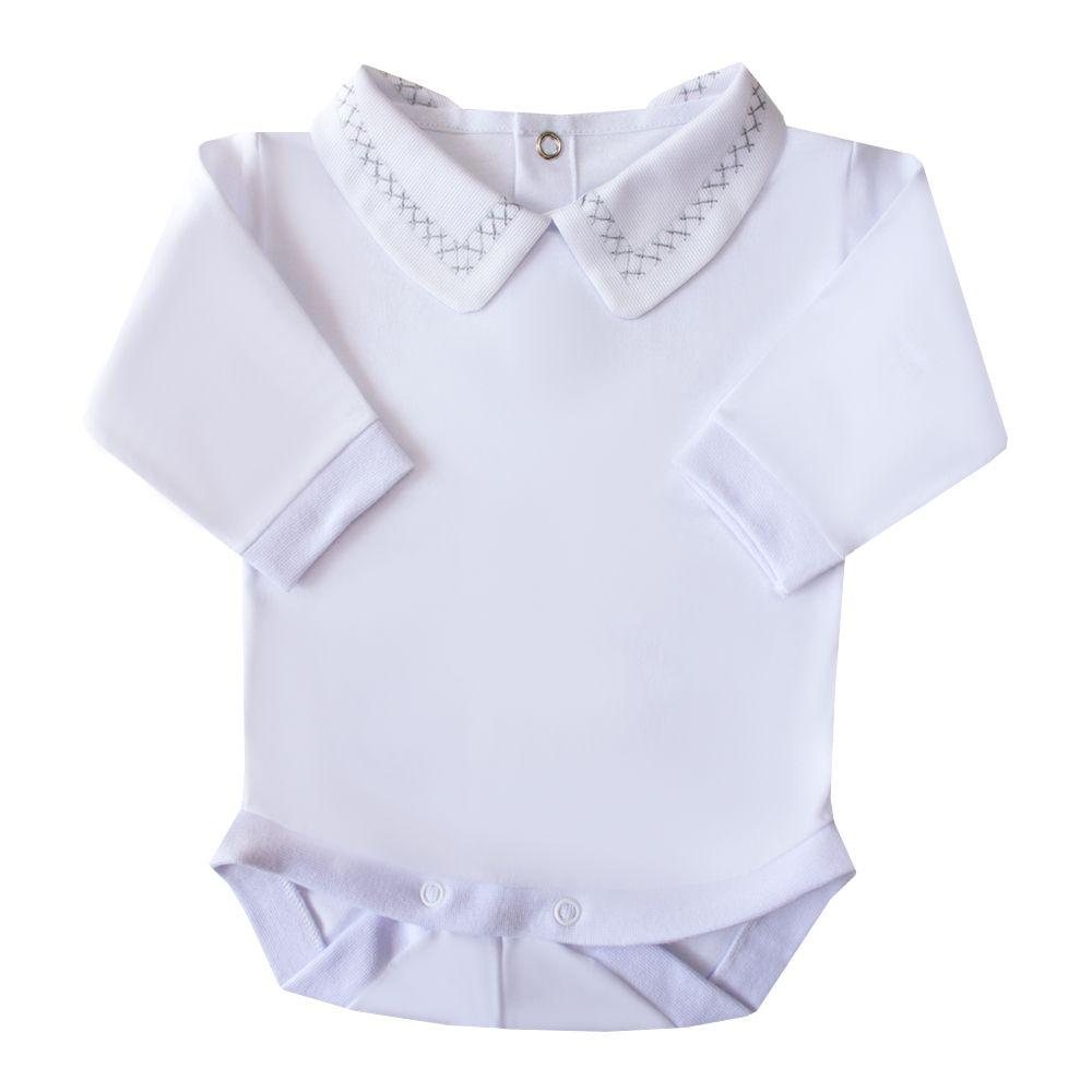 Body bebê corrente x - Branco e cinza