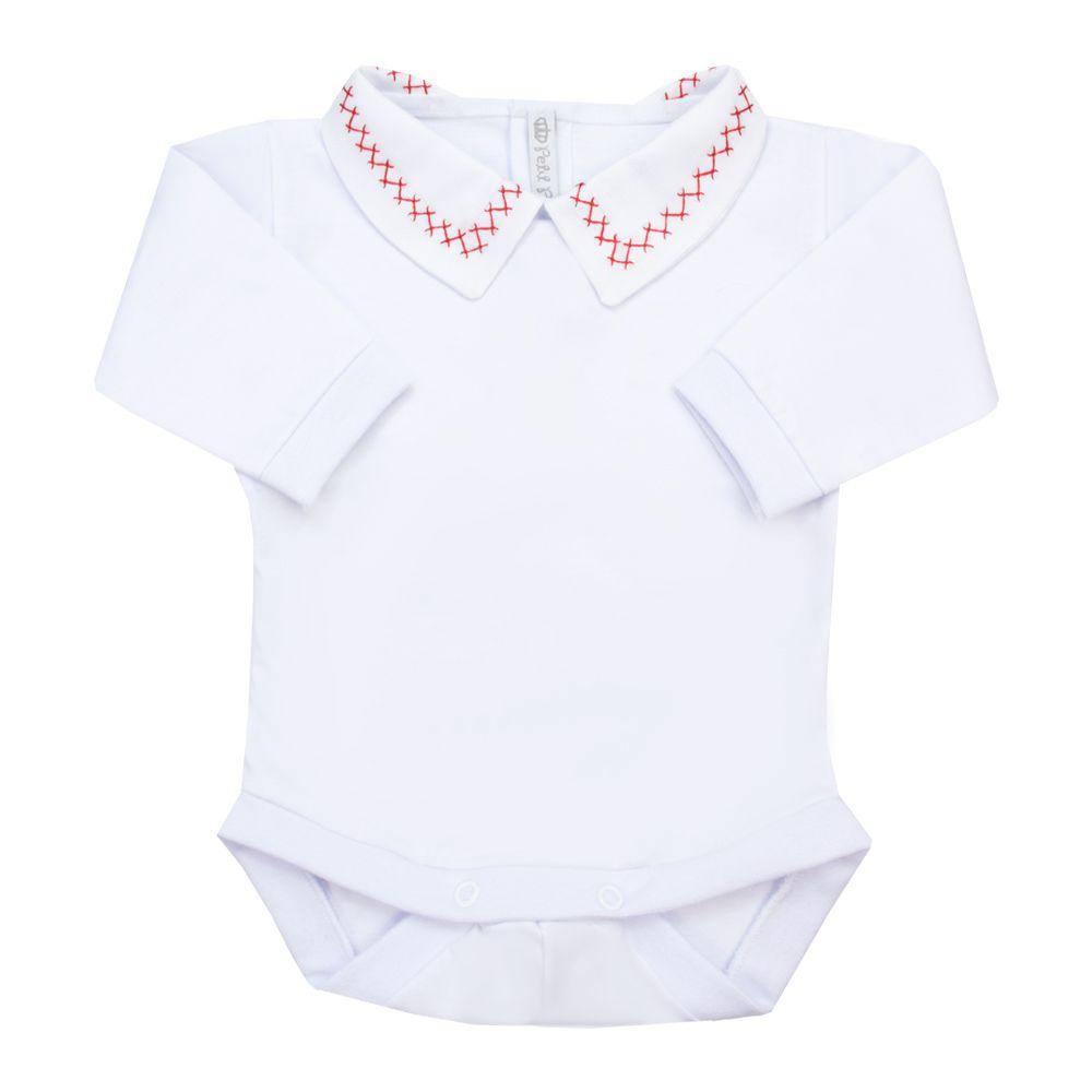 Body bebê corrente x - Branco e vermelho