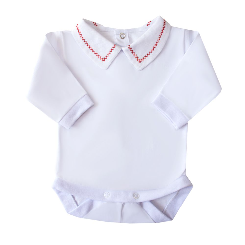 Body bebê corrente x pp - Branco e vermelho