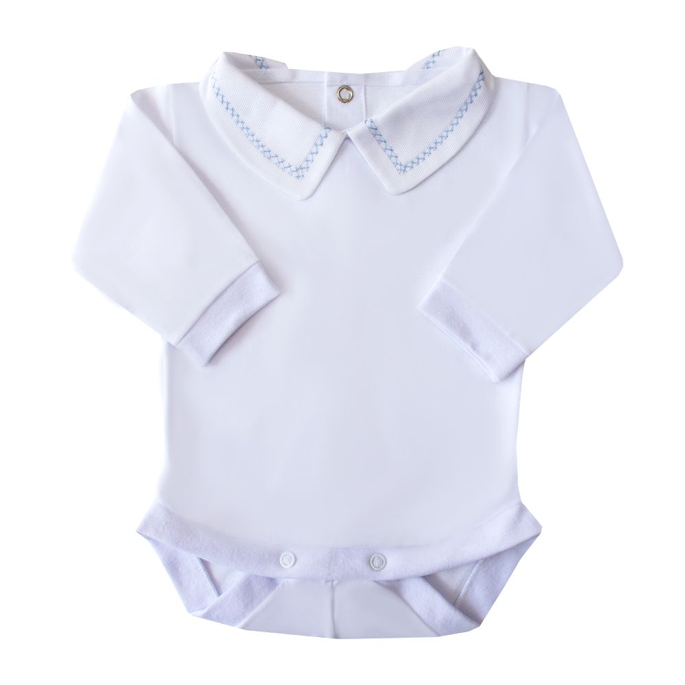 Body bebê corrente x pp - Branco e azul bebê
