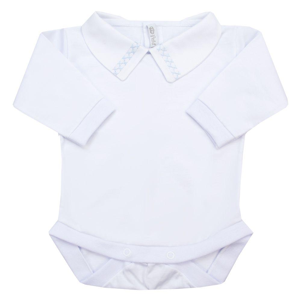 Body bebê duplo x - Branco e azul bebê