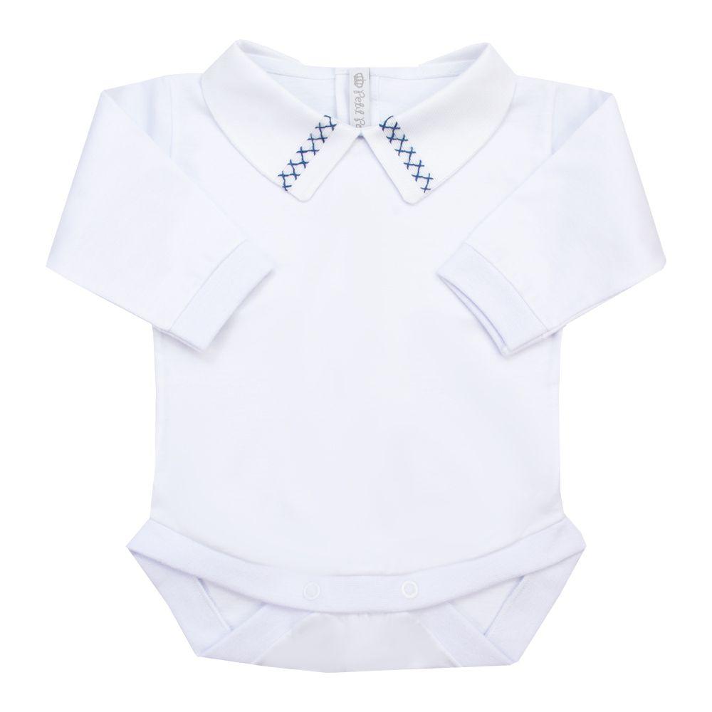 Body bebê duplo x - Branco e azul marinho