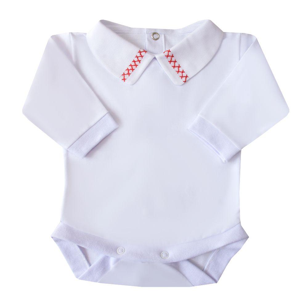 Body bebê duplo x - Branco e vermelho