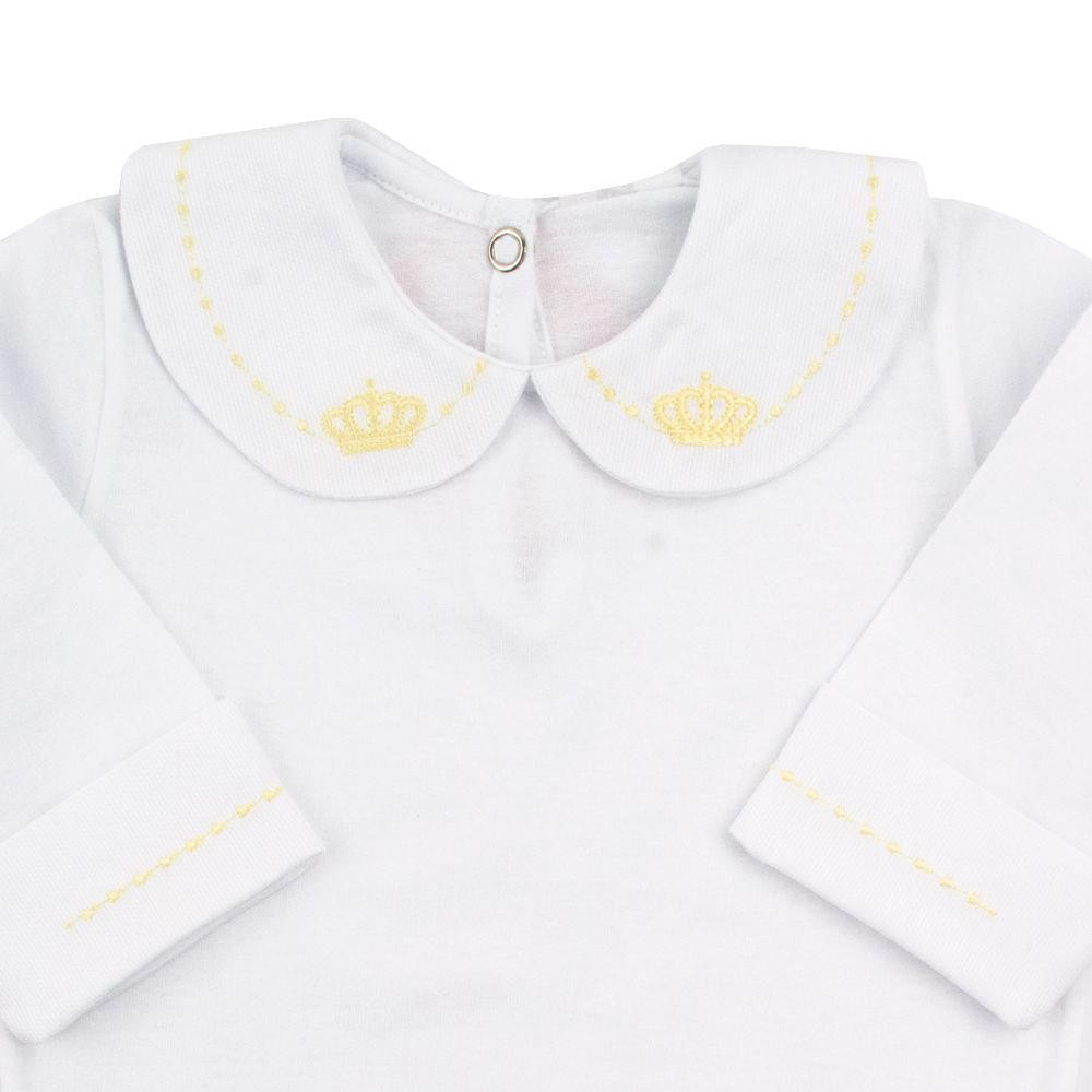 Body bebê feminino - Branco e amarelo