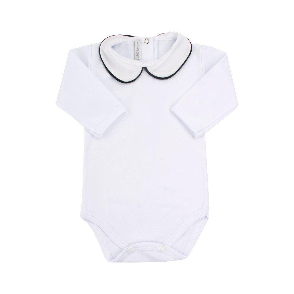 Body bebê feminino - Branco e azul marinho