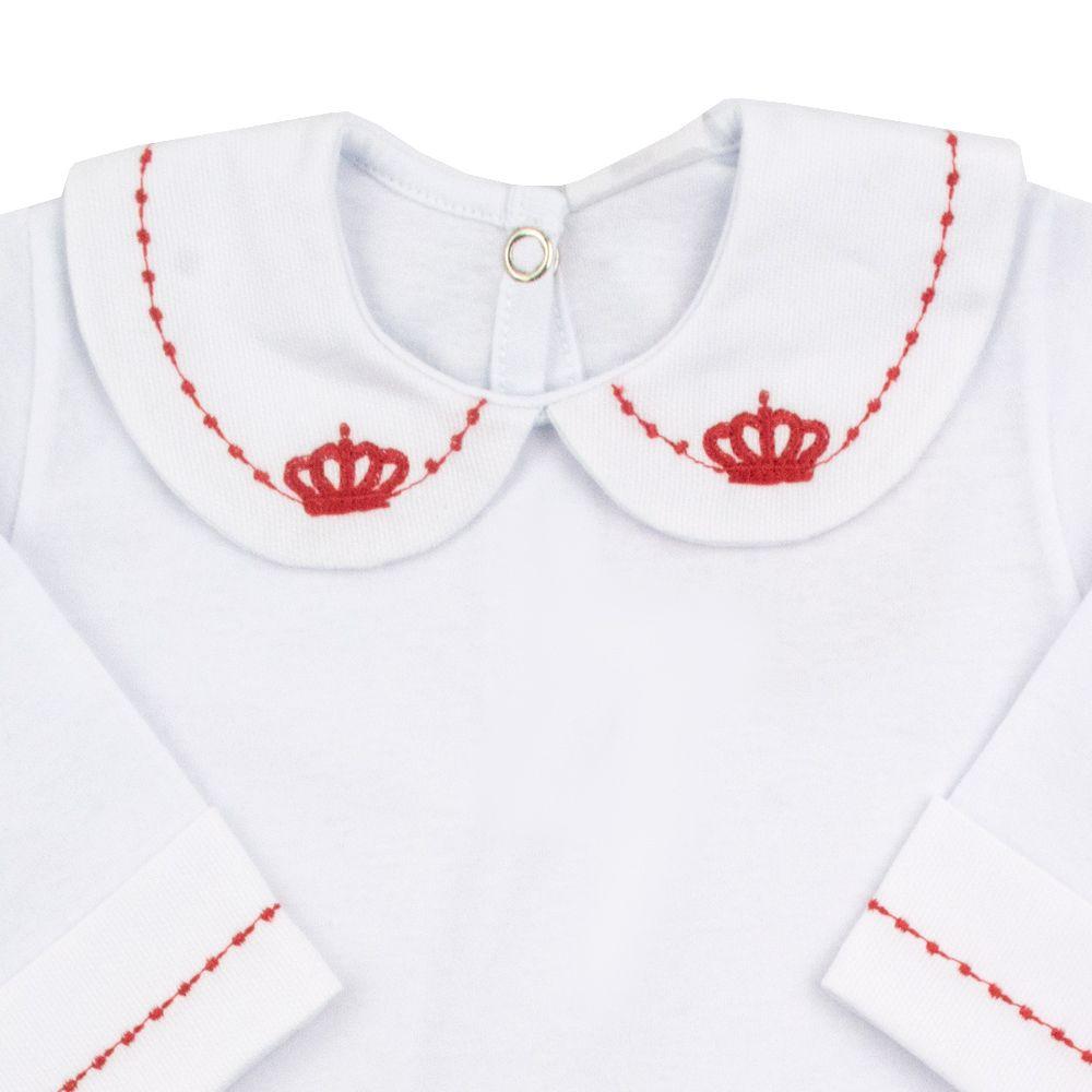 Body bebê feminino - Branco e vermelho