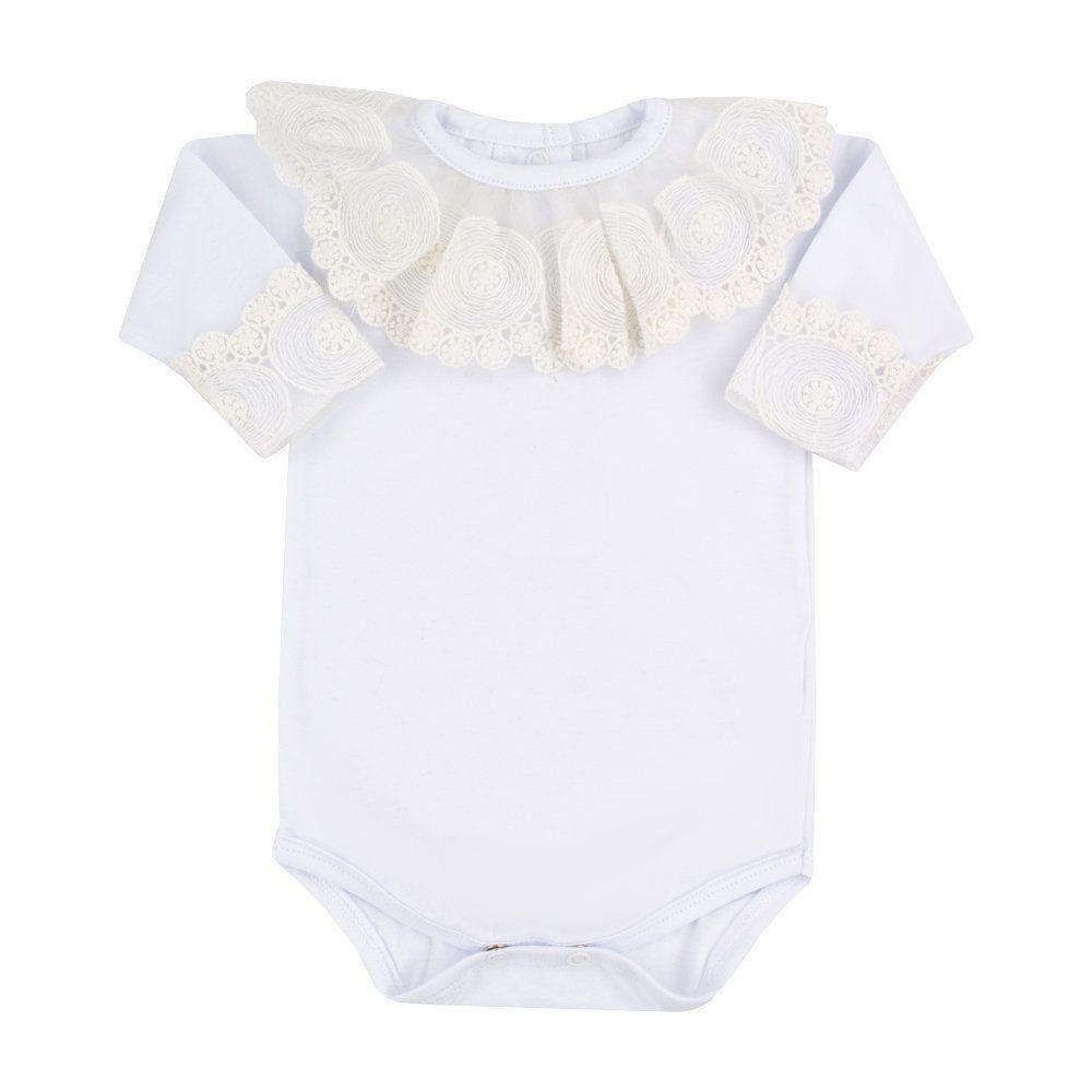 Body bebê gola e punhos com tule bordado - Branco