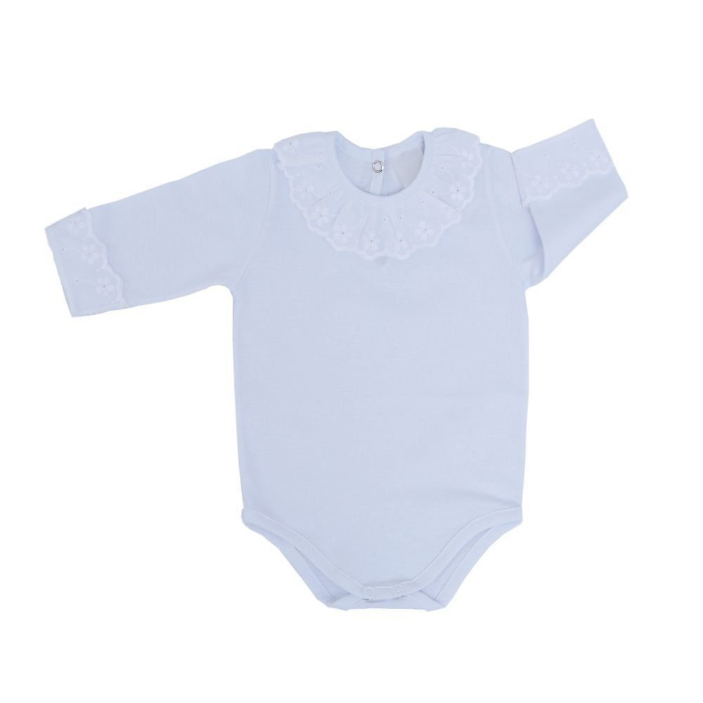 Body bebê feminino manga longa com lese - Branco