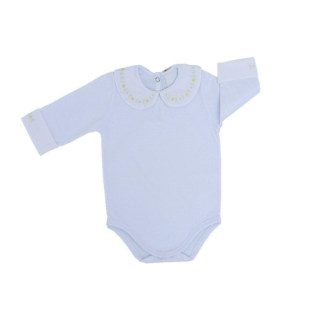 Body bebê feminino manga longa flores - Branco/Amarelo