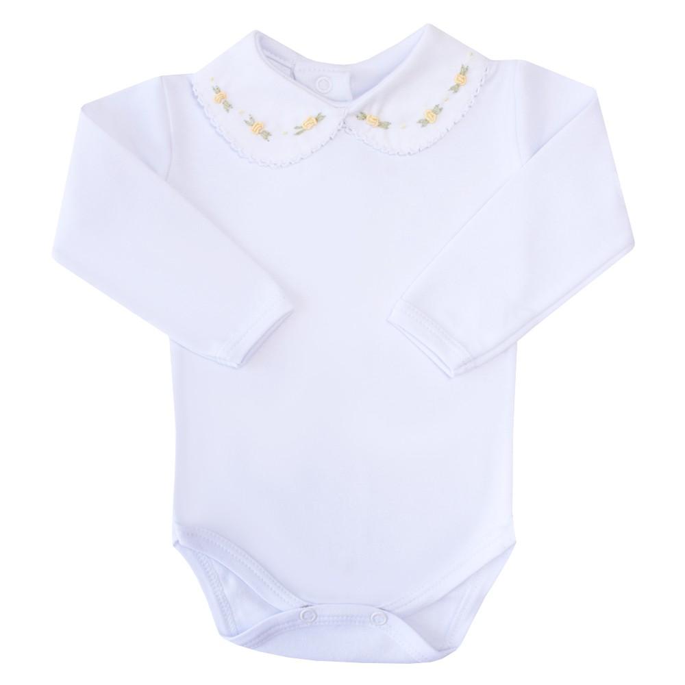 Body bebê flor - Branco e amarelo