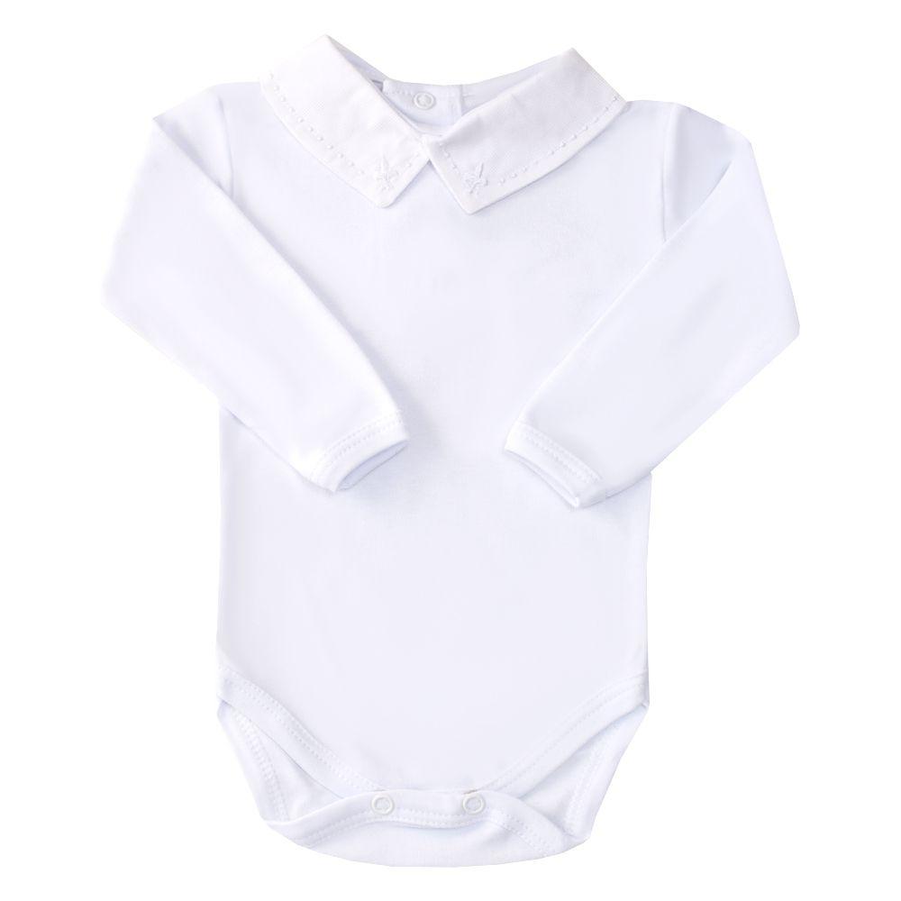 Body bebê flor de lis e bolinha - Branco
