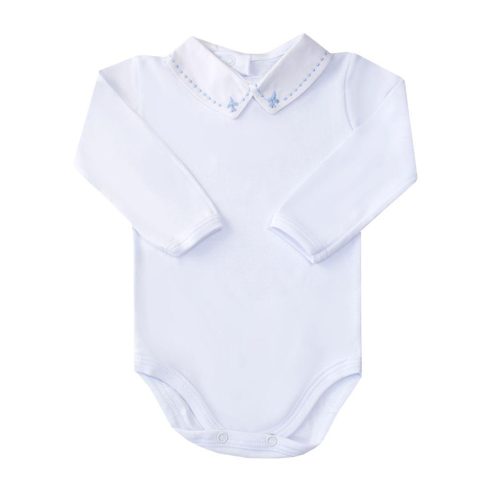 Body bebê flor de lis e bolinha - Branco e azul bebê