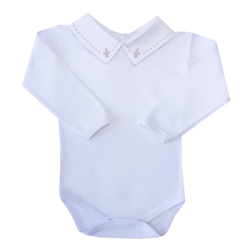 Body bebê flor de lis e bolinha - Branco e rolex