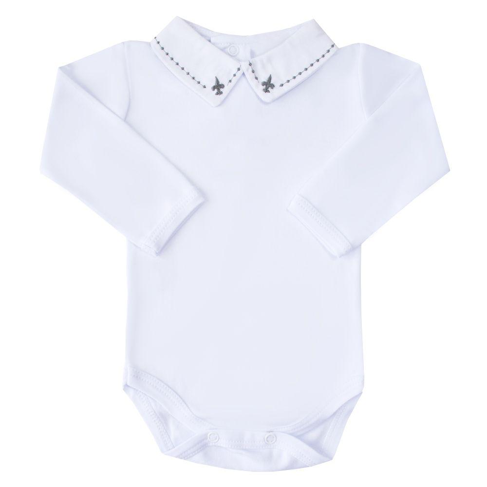 Body bebê flor de lis e bolinhas - Branco e cinza