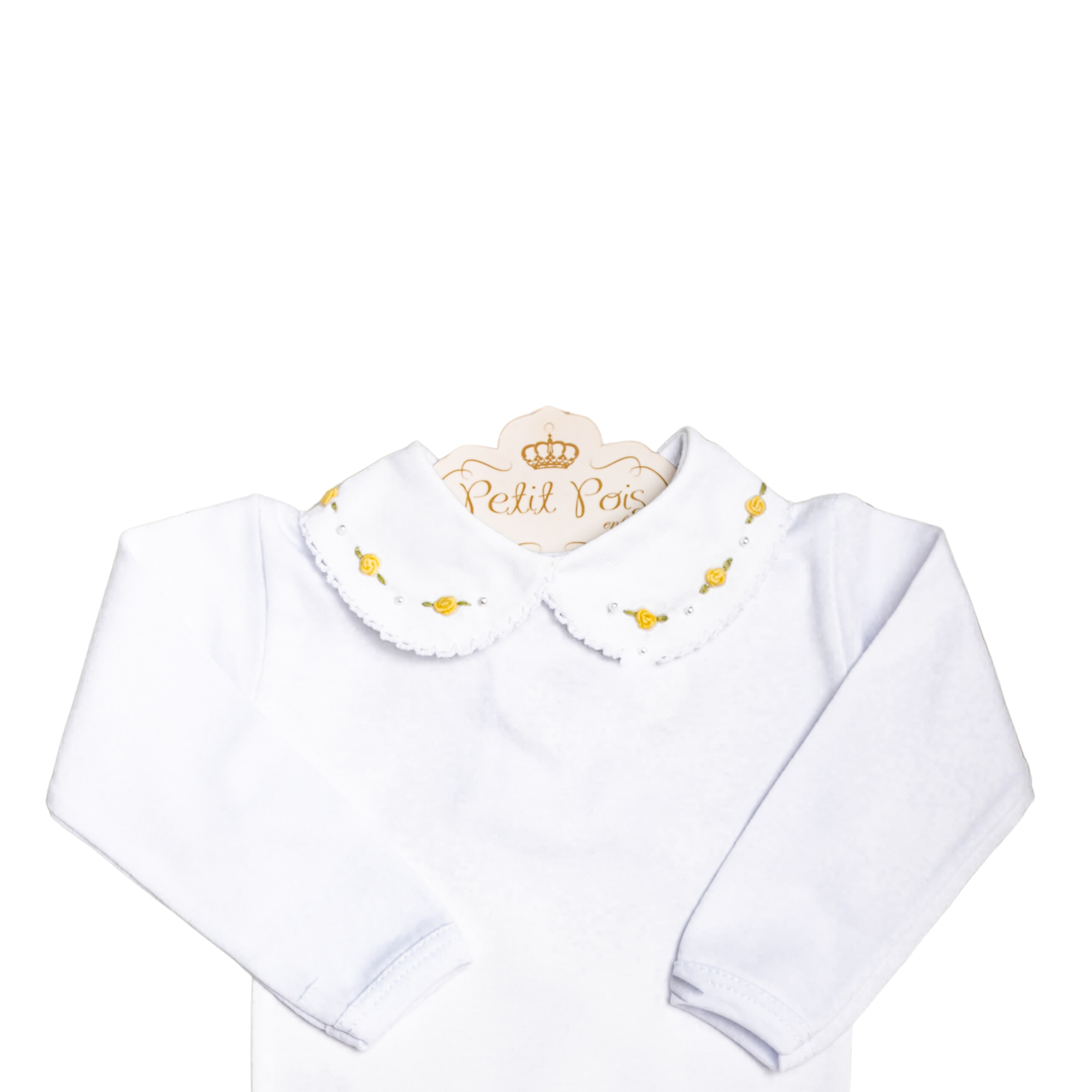 Body bebê flor e pérola - Branco e amarelo