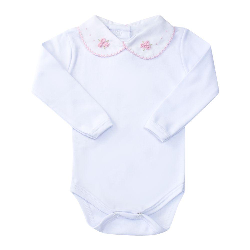 Body bebê flor e pontinhos - Branco e rosa