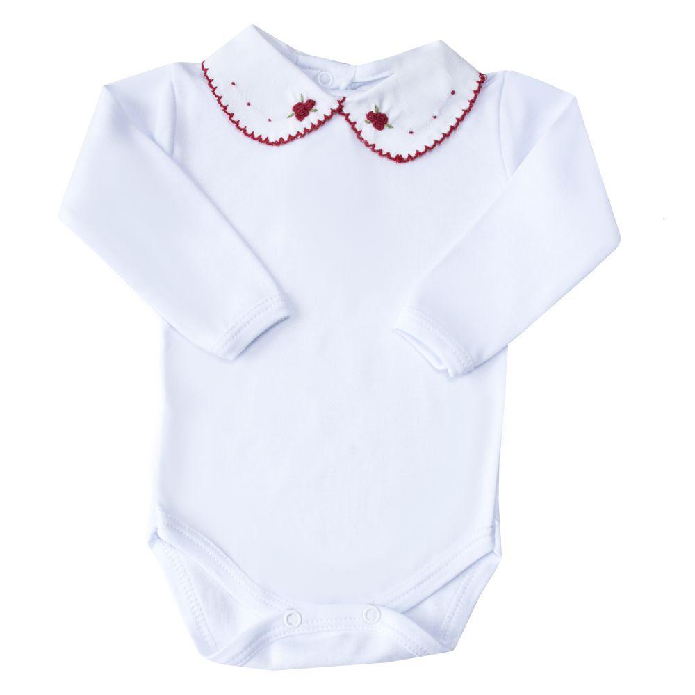 Body bebê flor e pontinhos - Branco e vermelho