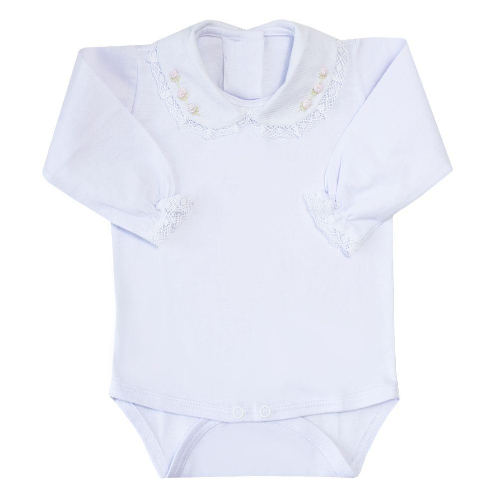 Body bebê flor e rendinha - Branco e rosa