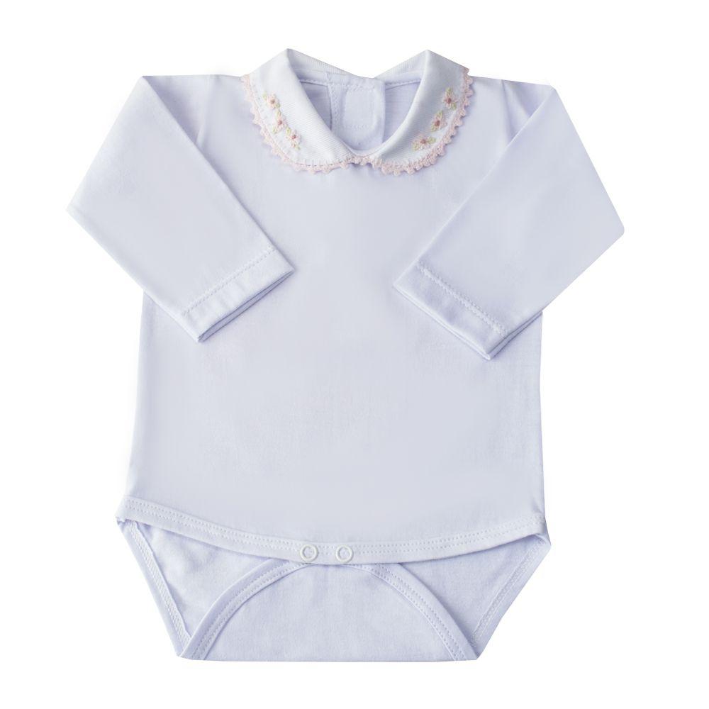 Body bebê flores - Branco e rosa bebê