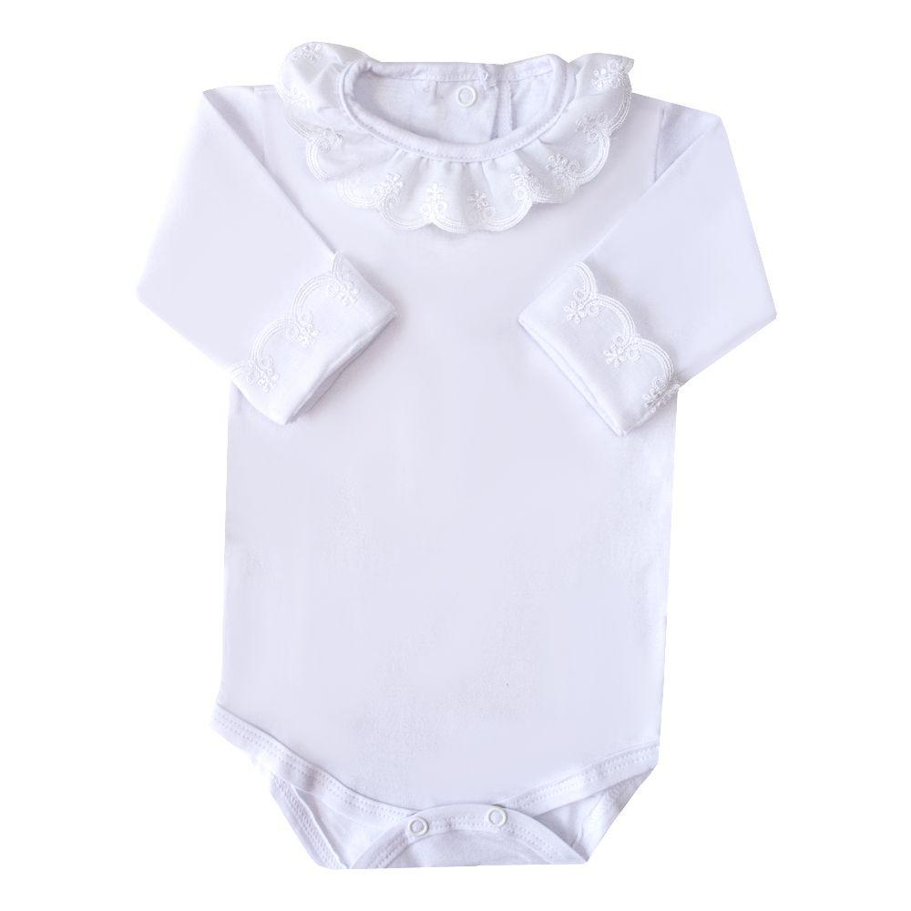 Body bebê gola bordada - Branco
