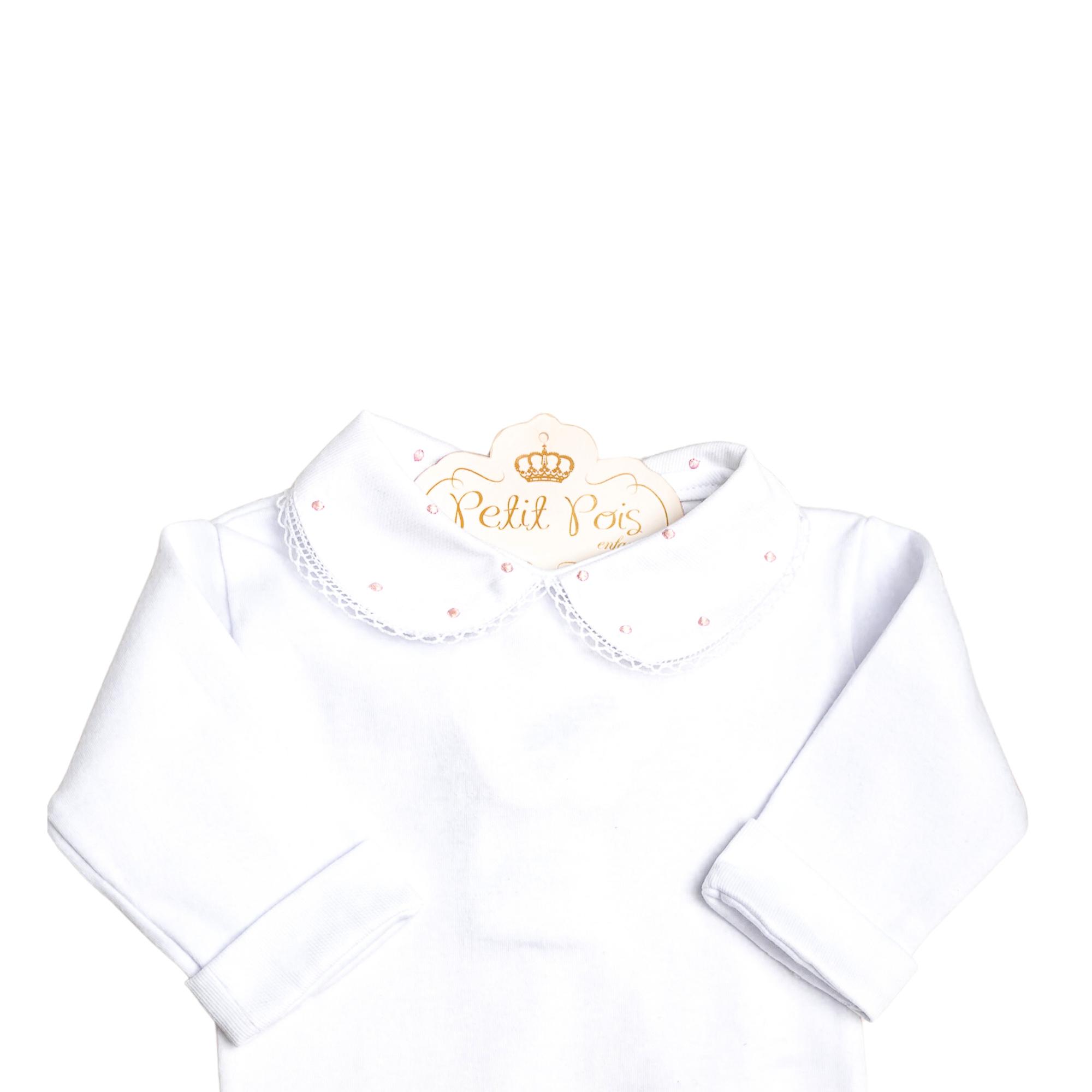 Body bebê gola com poás e punhos - Branco e rosa bebê