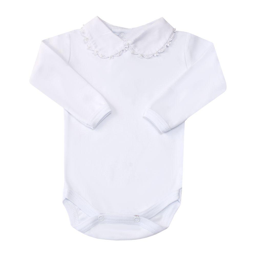Body bebê gola com rendinha e pérolas - Branco