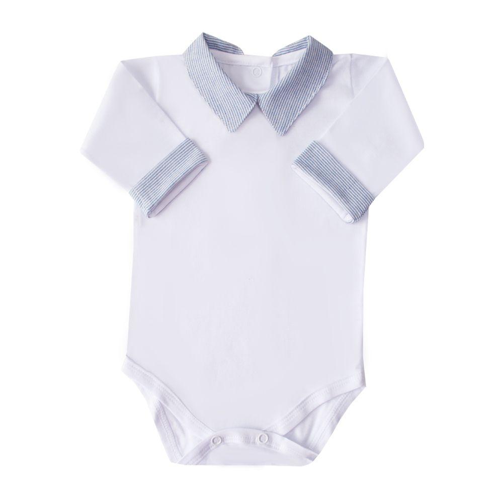 Body bebê gola e punho em linho listrado - Branco e azul