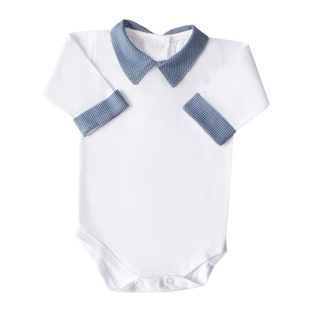 Body bebê gola e punho xadrez - Branco e azul