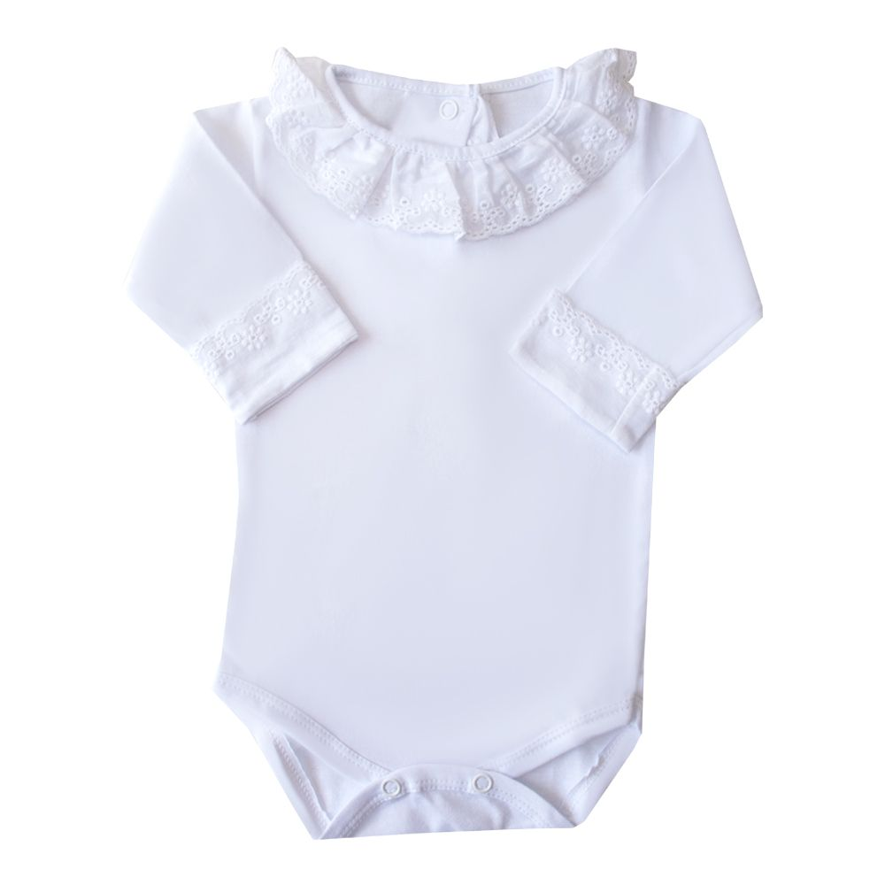 Body bebê gola e punhos em lese - Branco