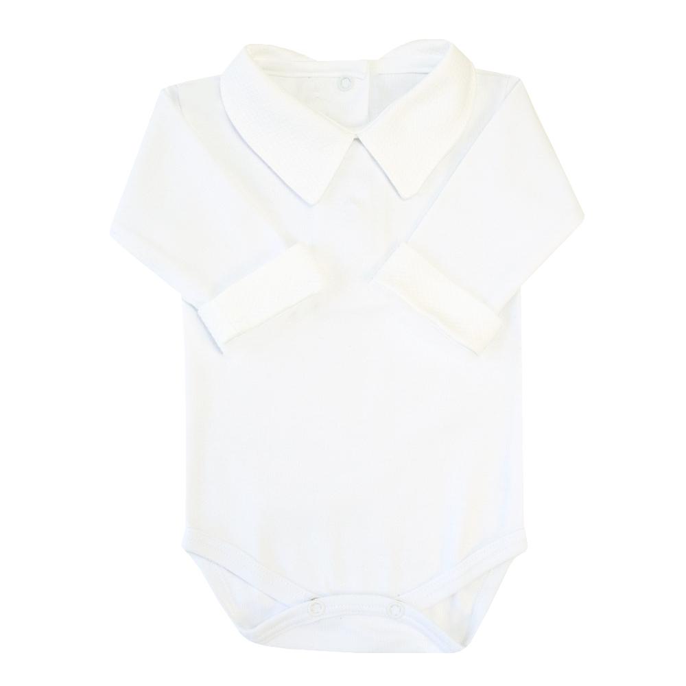 Body bebê gola e punhos em piquet - Branco