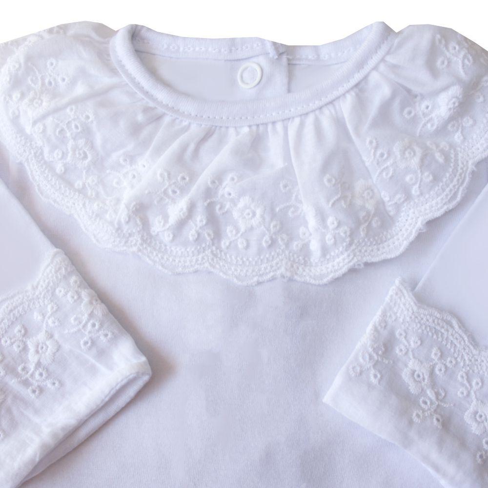 Body bebê gola e punhos em renda bordada - Branco