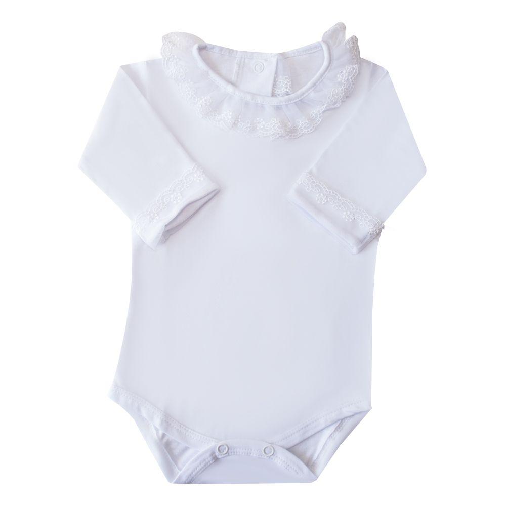 Body bebê gola e punhos em tule bordado - Branco