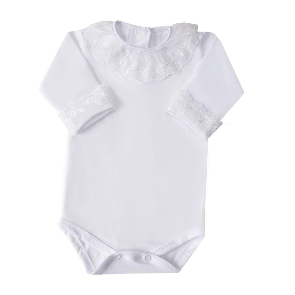 Body bebê gola e punhos em tule bordado com flores - Branco