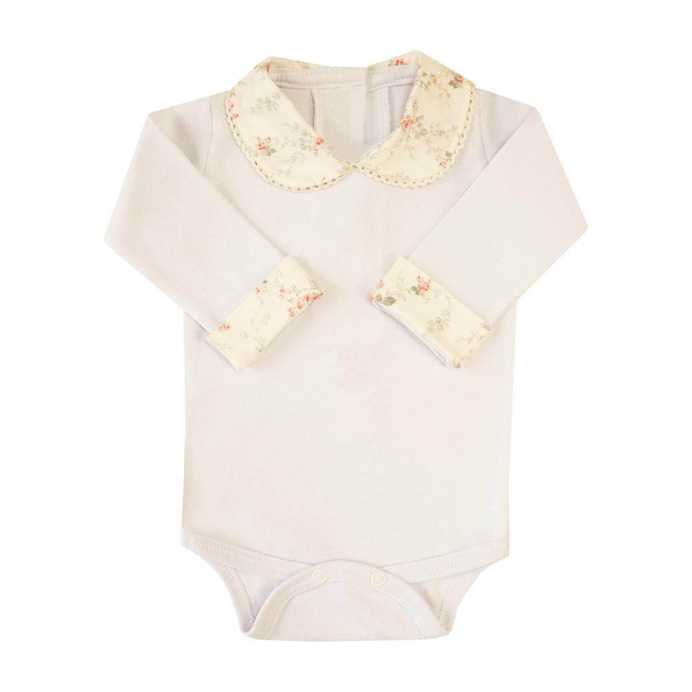 Body bebê gola e punhos floral  - Branco