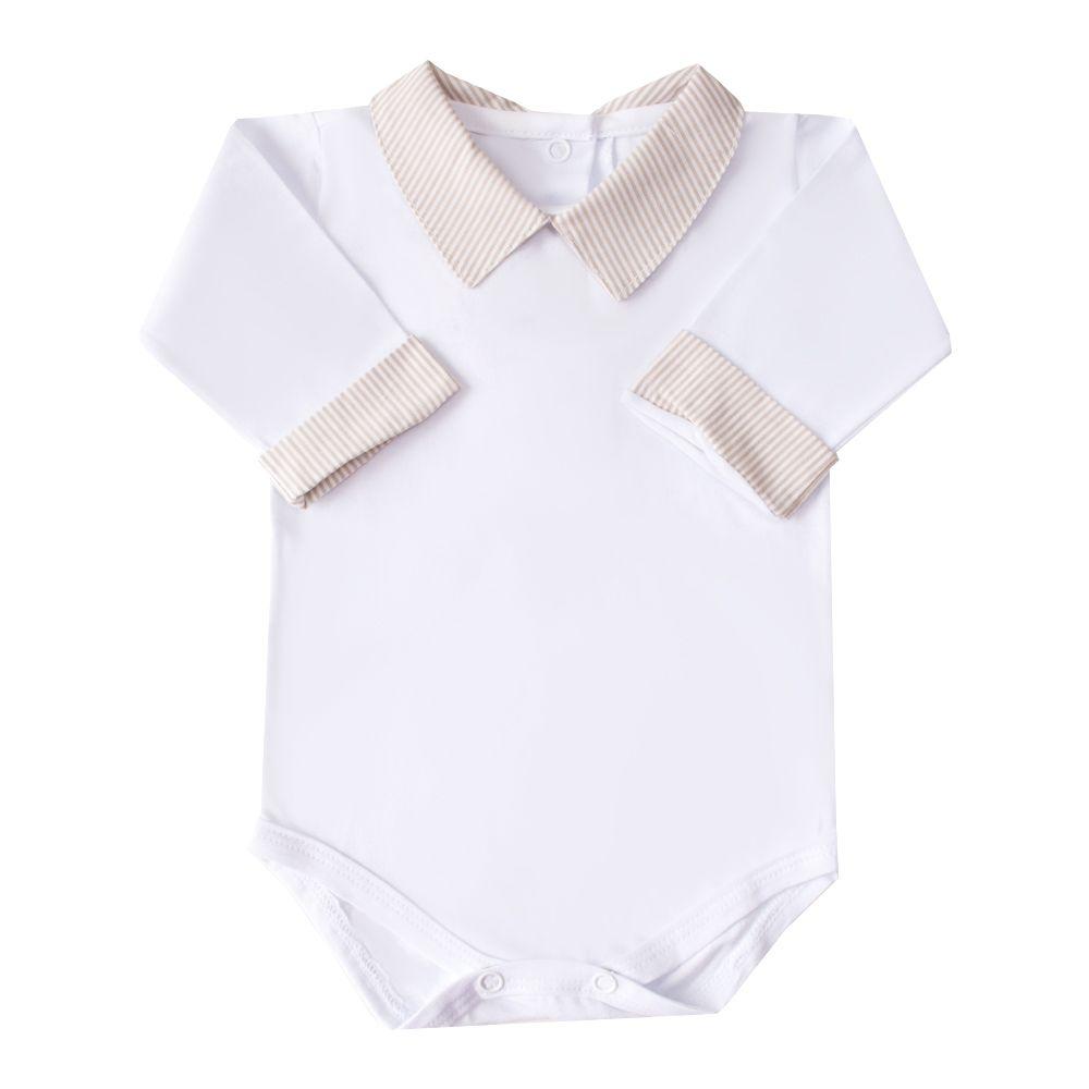 Body bebê gola e punhos listrado - Branco e bege