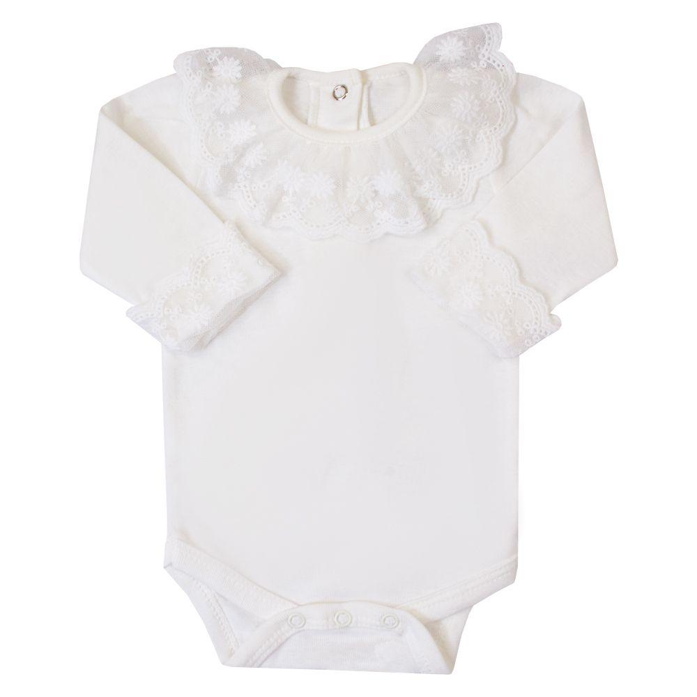 Body bebê gola e punhos renda - Off white