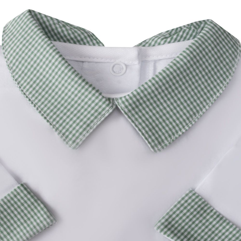 Body bebê gola e punhos xadrez - Branco e verde