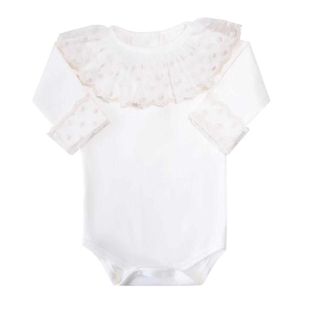 Body bebê gola em tule poás - Off white