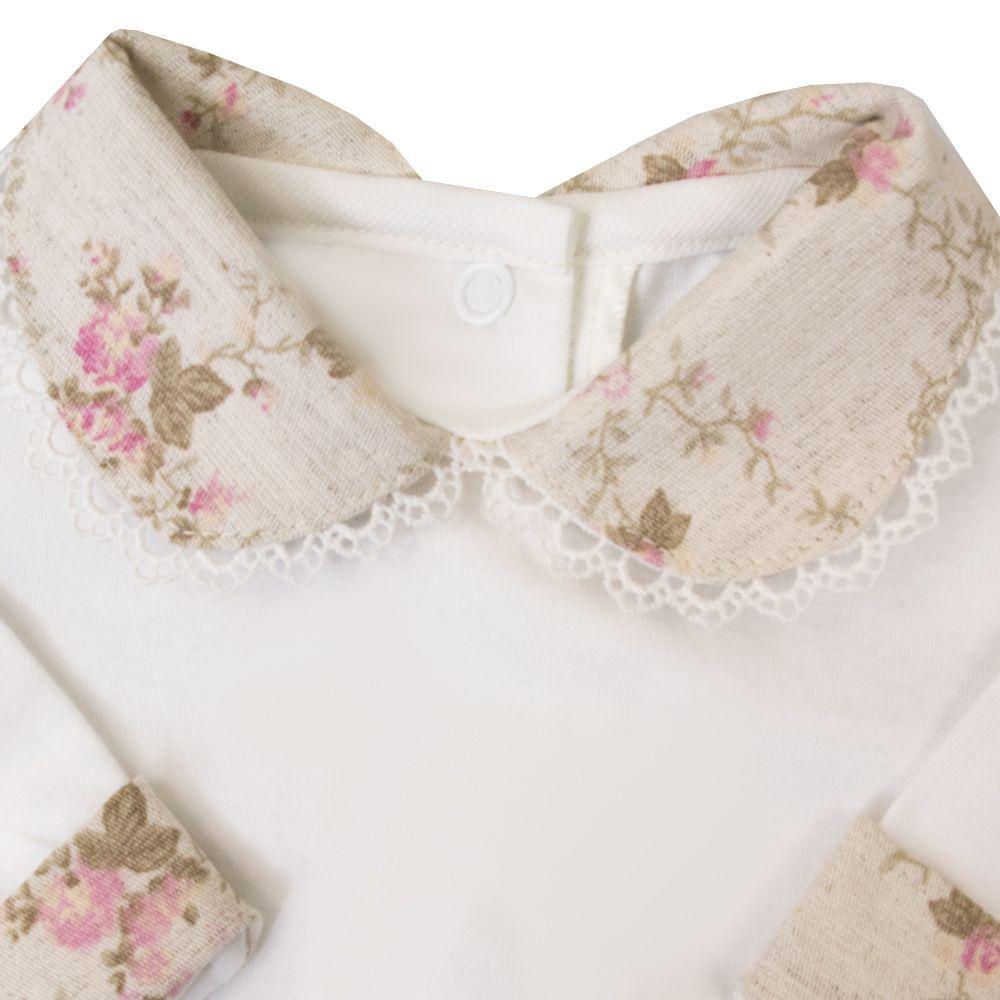Body bebê gola floral - Off white