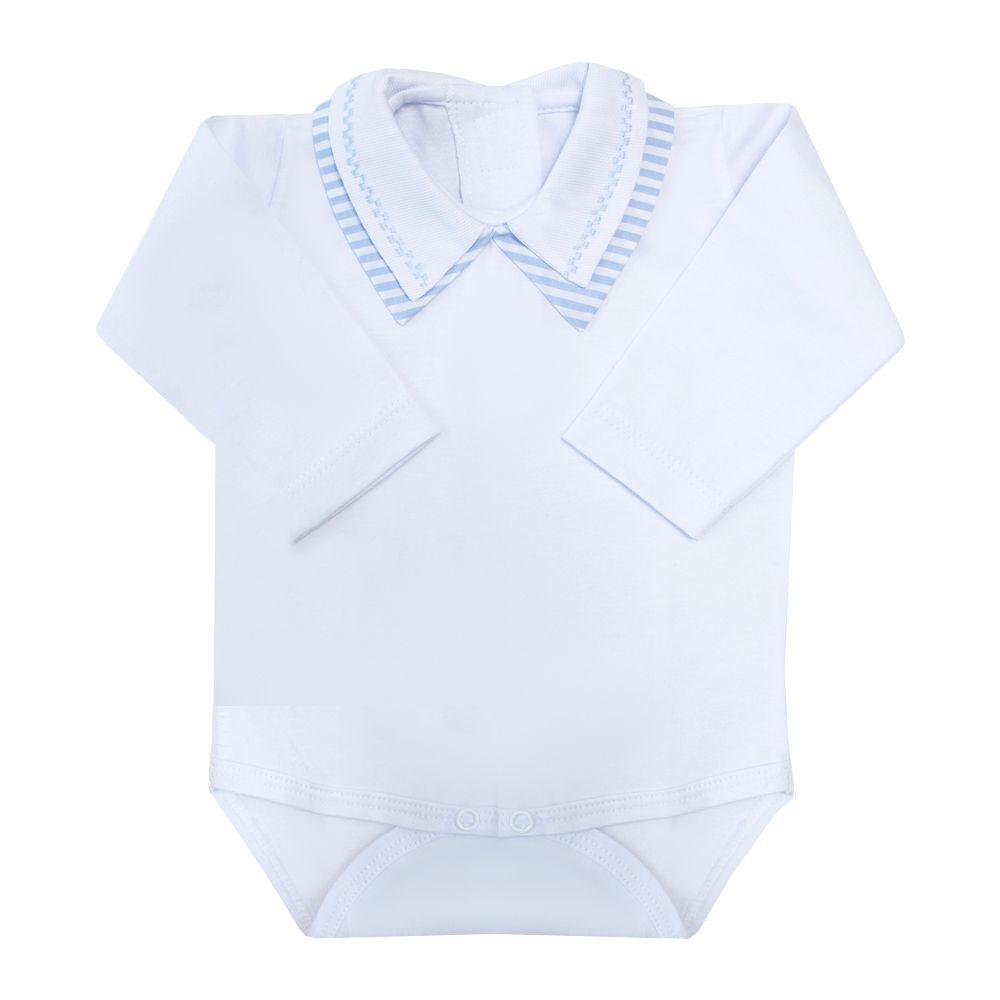 Body bebê gola listras e quadradinho - Branco e azul bebê