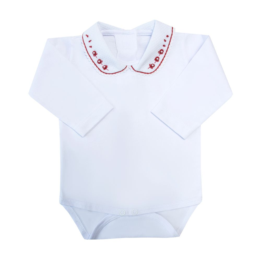 Body bebê gola piquet com flor e pérola - Branco e vermelho