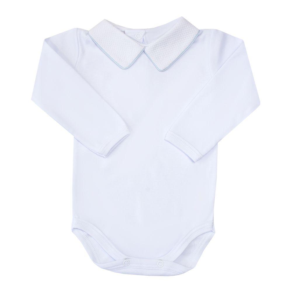Body bebê gola piquet com vivo - Branco e azul pó